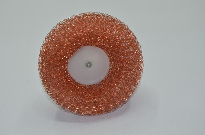 Round Copperized Stainless Steel Scrubbing Pads , Wear Resistant Metal Scouring Pad