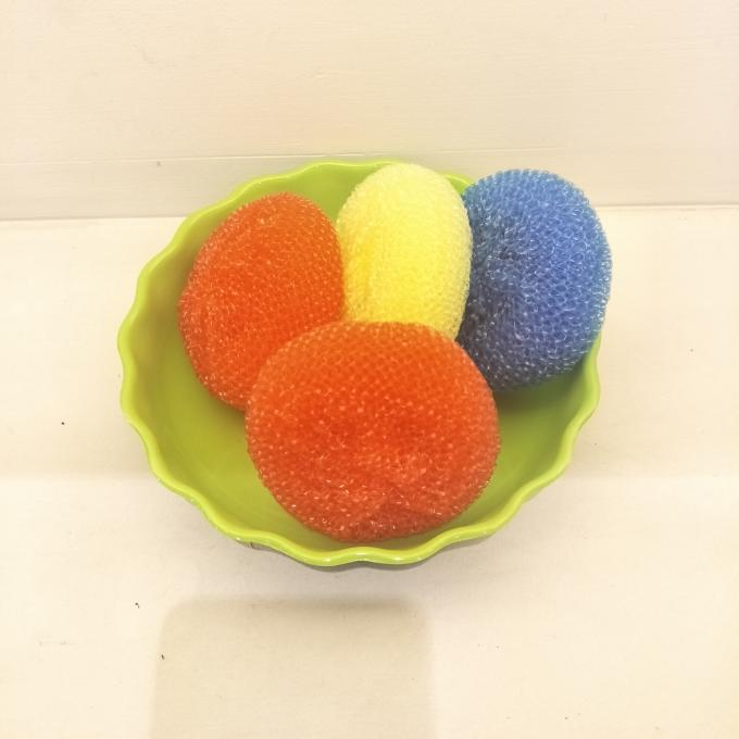 Yellow Green Color Plastic Pan Scourers , Rust Resistant Kitchen Scouring Pads