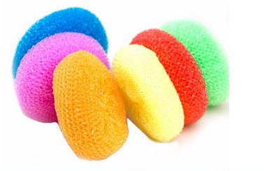 China Yellow Green Color Plastic Pan Scourers , Rust Resistant Kitchen Scouring Pads supplier