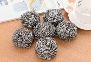 China Spiral Design Stainless Steel Scourer , 430 Sliver Color Steel Wool Scrubber factory
