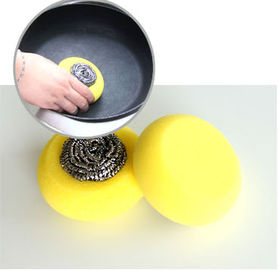 Soft Kitchen Sponge Scrubber With Stainless Steel Scourer ISO9001 Certification